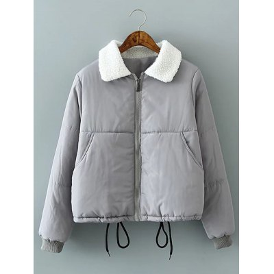 Short Solid Color Padded Jacket