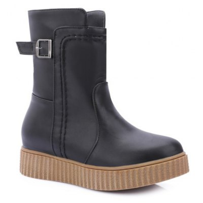 Round Toe Platform Ankle Boots