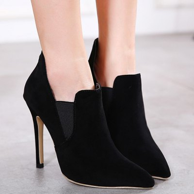 Pointed Toe Elastic Panel Ankle Boots