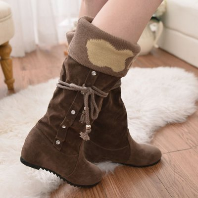 Knit Panel Mid Calf Boots