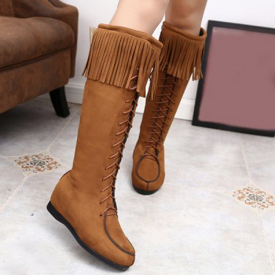 Lace Up Fringe Suede Mid Calf Boots