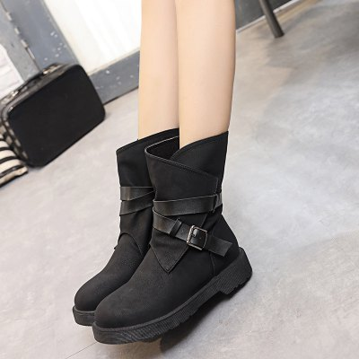 Flat Heel Buckle Cross Straps Boots