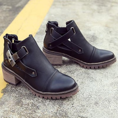 Zipper Chunky Heel Ankle Boots