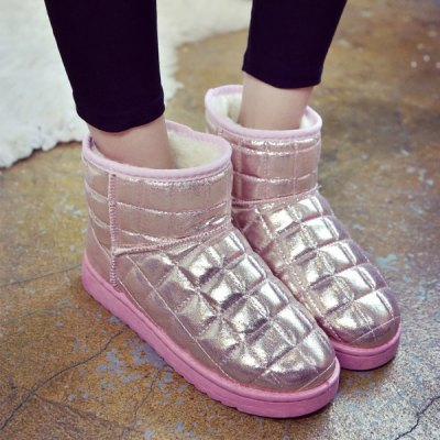 Flat PU Leather Snow Boots