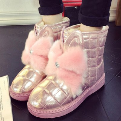 Bowknot PU Leather Snow Boots