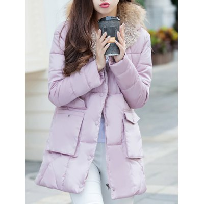 Faux Fur Puffer Coat with Pockets