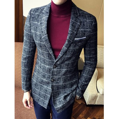 Lapel Single Breasted Selvage Plaid Coat