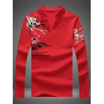 Stand Collar Notched Long Sleeve Printed Tee