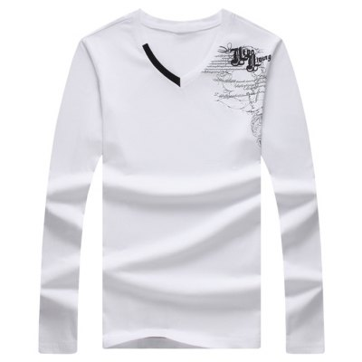 Graphic Printed V Neck Long Sleeve Tee