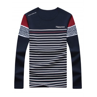 Long Sleeve Vintage Stripe Printed Tee