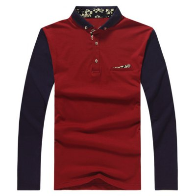 Button Up Contrast Insert Polo T-Shirt