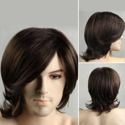 Medium Side Bang Tail Upward Men's Synthetic Wig