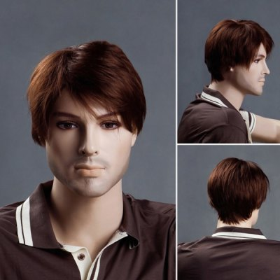 Short Side Bang Straight Men's Synthetic Wig