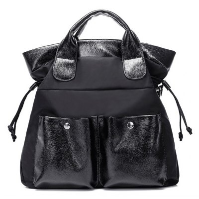 Splicing Drawstring Double Pocket Tote Bag