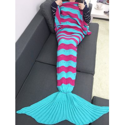 Thicken Multicolor Stripe Knitted Mermaid Tail Blanket
