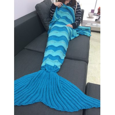 Thicken Stripe Knitted Wrap Mermaid Tail Blanket