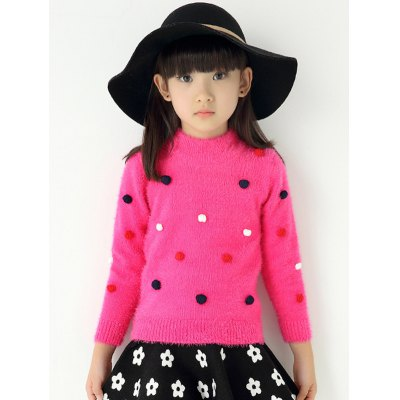 Polka Dot Pullover Fuzzy Sweater