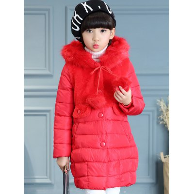 Fur Spliced Girls Long Parka Jacket