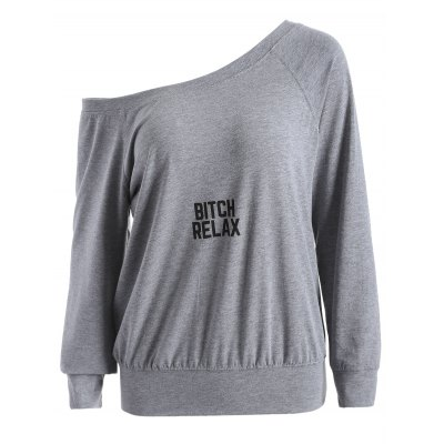Skew Neck Graphic Sweatshirt