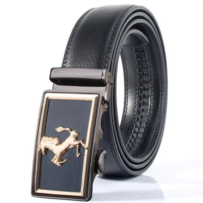 Stylish Rectangle Horse Shape Automatic Buckle Wide Belt