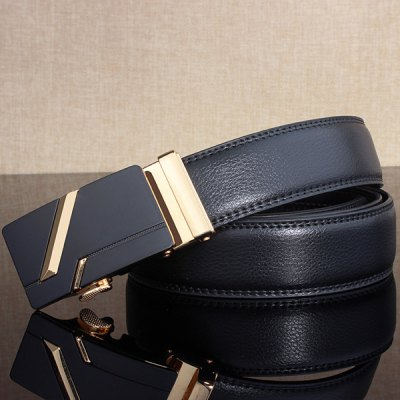 Simple Embellished Paralleled Line Automatic Buckle Wide Belt