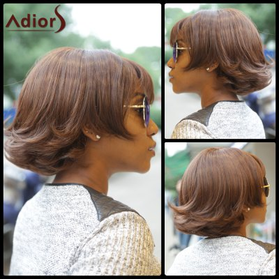 Synthetic Fluffy Wave Bob Style Short Wig