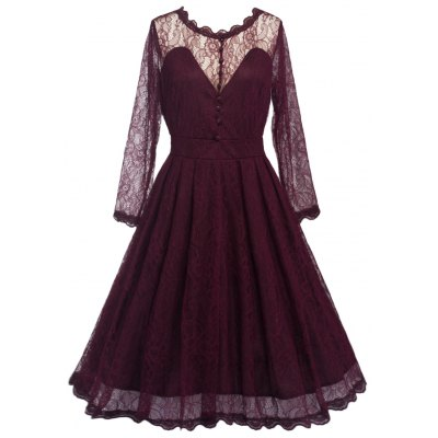 Vintage Lace Skater Dress with Sleeves