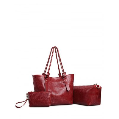 PU Leather Embossing Chain Shoulder Bag