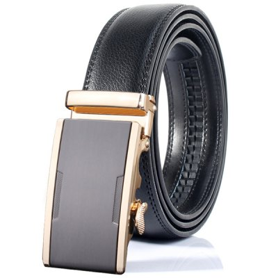 Simple Embellished Alloy Automatic Buckle Wide Belt
