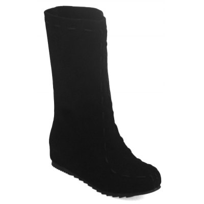 Criss Cross Back Suede Mid Calf Boots