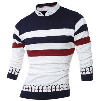 Faux Twinset Shirt Collar Color Block Stripe Spliced Knitting Sweater