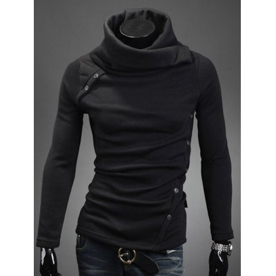 Oblique Buttons Embellished Turtle Neck Long Sleeve Sweater