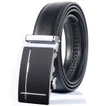 Polished Perpendicular Line Automatic Buckle Wide Belt