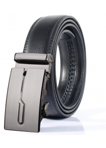 Stylish Polished Geometric Automatic Buckle Wide Belt