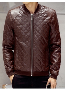 Zip Up Faux Leather Quilted Jacket