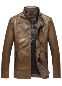 Pocket Stand Collar Faux Leather Padded Jacket