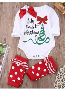 Christmas Costume Gift Girls Rompers Clothing + Stockings