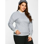 cheap Casual Lace Insert Fleece Sweatshirt