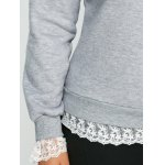 best Casual Lace Insert Fleece Sweatshirt