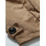 Turndown Collar Epaulet Embellished Double Breasted Woolen Coat photo