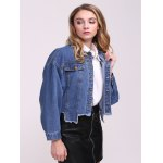 cheap Frayed Hem Denim Jacket