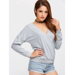 cheap Plunge Neck Pullover Sweatshirt