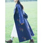 Flower Embroidery Long Coat for sale