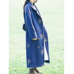 Flower Embroidery Long Coat deal