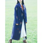 cheap Flower Embroidery Long Coat