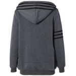 Striped Flocking Hooded Zippered Jacket deal