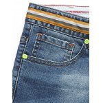 Tapered Fit Striped Waist Distressed Jeans deal