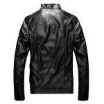cheap Patch Design Zippered Faux Leather Jacket