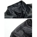 Patch Design Zippered Faux Leather Jacket deal