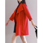 cheap Loose Drawstring Duster Trench Coat